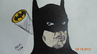 Michael Keaton's Batman in Markers/Charcoal/Pen