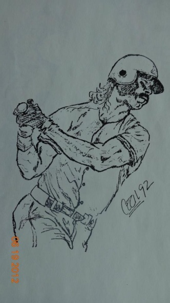 Donny Baseball in Pencil