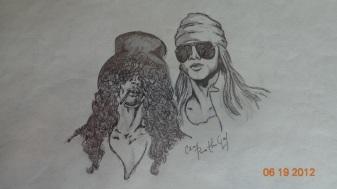 Slash & Axl in Pencil/Ink