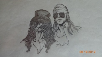 Slash & Axl in Pencil/Ink