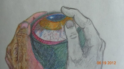 Inspiration from Redon's Eye Balloon in Pencil/Colour Pencil/Pastel