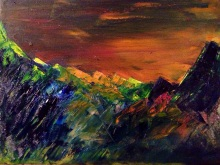 "9x12 Oil Painting. ""Misty Mountains"""