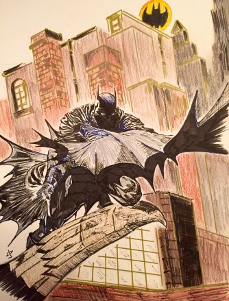 Batman with pen, markers and charcoal sticks - an Ode to an old DougMoench cover art