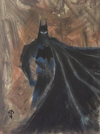 The Dark Knight in charcoal, watercolours and coffee grinds