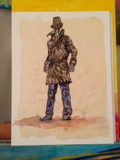 Rorschach in watercolours, coffee grinds, and ink