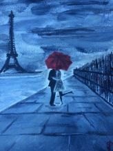 "8x10 Acrylic Painting ""Paris in Love"""