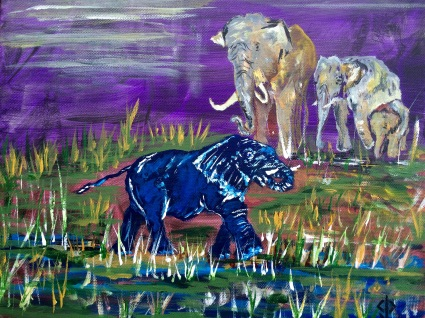 "11x14 Acrylic Painting ""The Blue Elephant in the Room"""