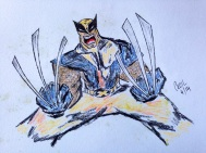 Wolverine in pen and colour pencils