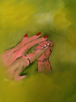 "8x10 Oil Painting on a wooden board. My friend having her finger held by her newborn nephew. ""LOVE (Sold)"