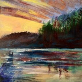 "12x12 Acrylic Painting ""The Dark Knight Goes Fishing"""
