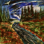 "12x12 Acrylic Painting on a wooden surface, ""Salmon Fishing with The Dark Knight"""