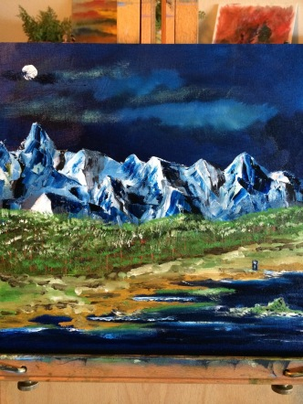 Mountains, trees, skies, water (and the TARDIS) inspire much of my paintings (oils)