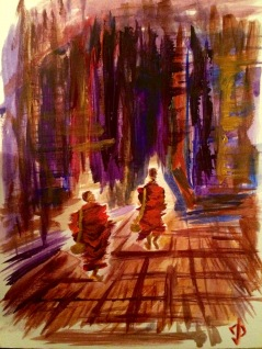 "9x12 Acrylic Painting ""Monks Walking into Battle"""
