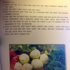 Recipe from Chef CarToon and the Cookbook for Thai Kitchen Centre in Chiang Mai