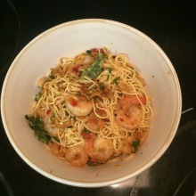 Panang Shrimp Noodles with curry leaves and Thai basil