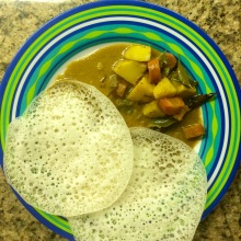 breakfast: uppam with potato & carrot curry stew