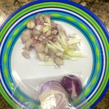fresh shallots, garlic, onion