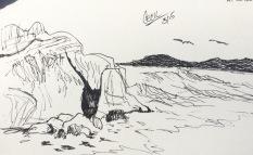 Sketch sitting at Sutro Baths