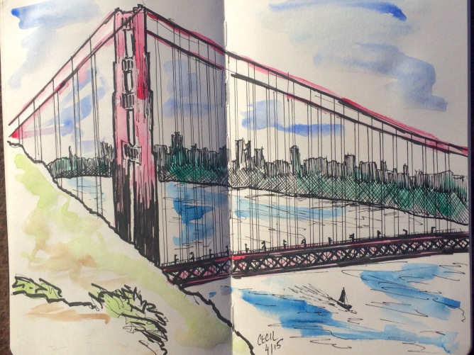 a sketch & watercolor of the bridge while sitting at Vista Point on the Marin side