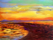 Secret of My SucCecil: Acrylic Painting of a sunset from Ranger's Island off the Tabbahata Reef