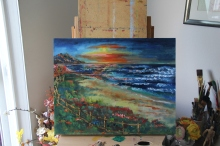 Secret of My SucCecil: Sunset on the Beach at Point Reyes... this was actually painted while sitting on the beach itself (SOLD)
