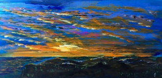 "Painting #2: 15""x30"" Acrylic Painting inspired by a Sunset off the Pacific Coast Highway"