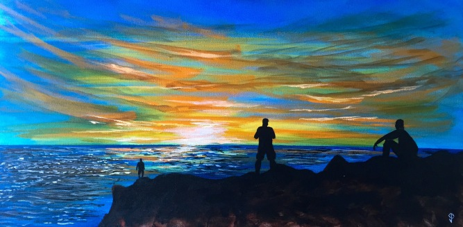 "Painting #1: 15""x30"" Acrylic Painting inspired by a Sunset off the Pacific Coast Highway"