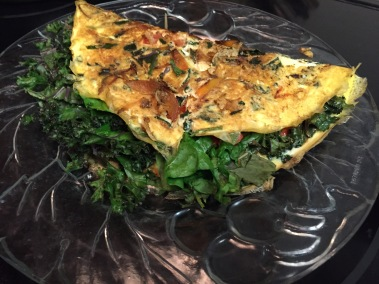 organic kale, spinach omelette