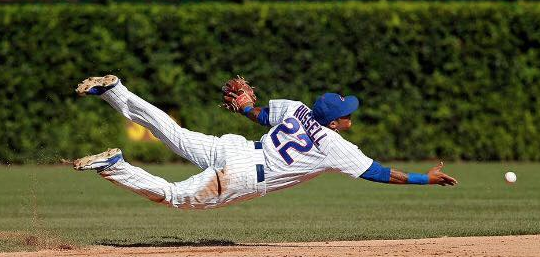 Addison Russell with the play of the day to end the game in a victory for the Cubs over the Cardinals!
