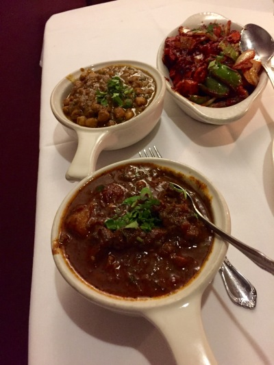Chicken Karahi, Channa Masala, Lamb Vindaloo